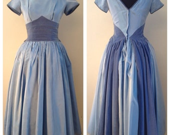 1950's Taffeta & Velvet Party Dress Size S