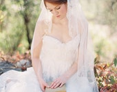 Juliet Cap Veil, Wedding Veil, Bridal Veil, Chapel length veil, lace veil, Beaded Veil - Touch of Love - Made to Order