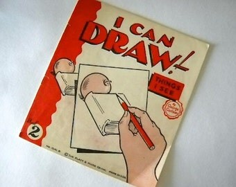 """Vintage """"I Can Draw""""  Instruction Book No. 2 by George Carlson"""
