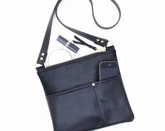 Black Leather Cross Body Bag, Everyday Shoulder Bag, Small Leather Cross Body Bag, Black Travel Cross Body Bag, Small Leather Messenger Bag
