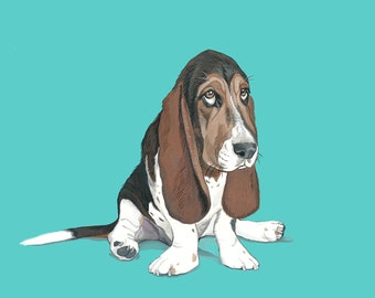 Custom Pet Portrait - 8x10 inch Painted Pet Portrait - Custom Portrait - Family Pet - Basset Hound Art -  Dog Lover Gift Idea -  Dog Art