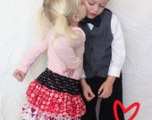 Valentine Love Triple Ruffle Skirt made from Create Kids Couture Pattern, Girl's Skirt, Valentine's Day Skirt, Choose Your Size