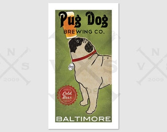 CUSTOM Personalized Hoppy PUG dog Brewery - Archival Pigment Print  Black Pug Fawn Pug