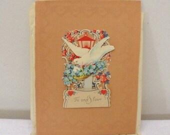 Vintage Forget- Me- Nots & Dove Pop Up Fold Out Valentine