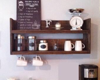 Rustic kitchen shelf, coffee shelf, coffee bar shelf, reclaimed wood, rustic shelf, wooden shelf, reclaimed wood shelf, kitchen storage