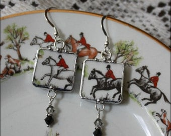 """Broken China Jewelry """"Tally Ho"""" Fox Hunt, Horse and Rider, Square Dangle Earrings"""