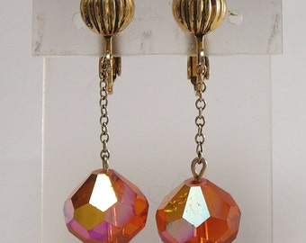 Orange Crystals Dangle Earrings Vintage AB