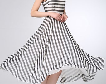 White black Stripe chiffon dress prom dress women bridesmaid dress (1202)