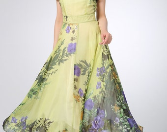 floral dress women,Prom dress maxi women dress silk dress (1203)