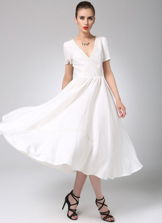 White linen wedding dress gown and dress gallery for Cloth for wedding dresses