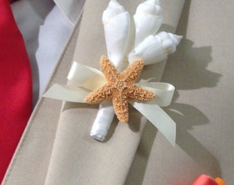 Beach Wedding Seashell and Starfish Boutonniere with 24 Ribbon Choices - Lapel Pin Nautical Coastal