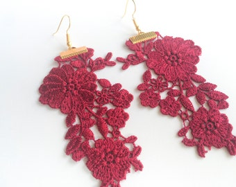 Sultry Red Venise Lace Earrings—FREE SHIPPING!