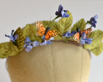 Butterfly crown, leaf crown, whimsical headpiece, woodland headband, fairy crown, hair accessory - Titania