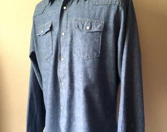 Vintage Men's 80's Wrangler, Denim Shirt, Long Sleeve, Snap Button Up (XL)