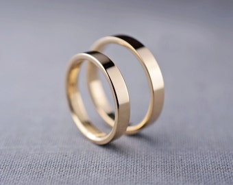 Hers & Hers Wedding Ring Set | 14K Gold 3mm Wedding Rings