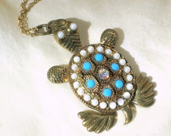 Choker Necklace Pendant Rhinestone Faux Pearl Sea Turtle Vintage Costume Jewelry
