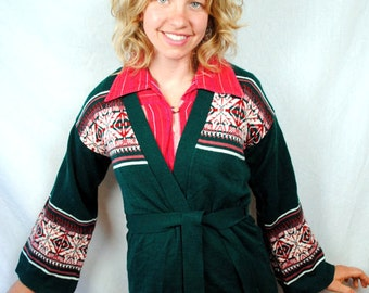 Vintage Geometric Ethnic Tribal Hippie Cardigan Sweater
