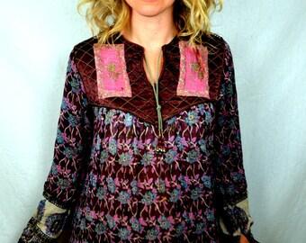 RARE Beautiful Hippie 1970s 70s Gauzy Cotton Floral India Boho Dress