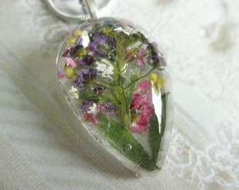Pink, Purple & Maroon Alyssum, Queen Anne's Lace Pressed Flower Glass Pendant-Symbol Of Worth Beyond Beauty,Peace-Gifts Under 30