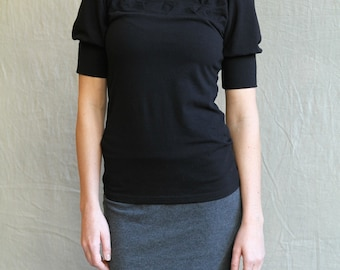 Folded Top, folded detail, cotton jersey, puff sleeves, modern chic- made to order, one of a kind