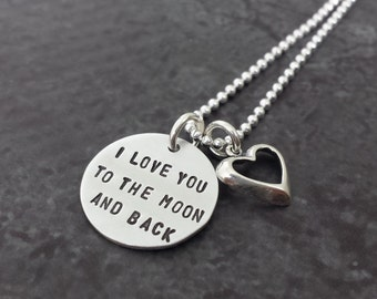 I Love You to the Moon and Back Stamped Silver Necklace with Heart Charm-  Hand Stamped Sterling Silver
