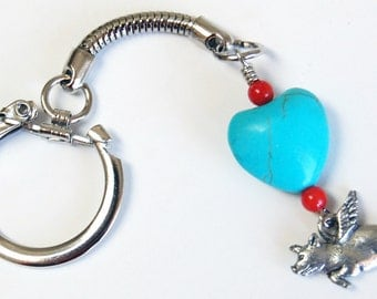 Pig with Wings Turquoise n Red Flexible Keychain, Flying Pig Keychain, Easy Open Keychain, Southwest Colors Keychain