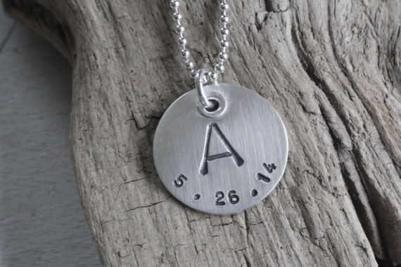 Personalized wedding jewelry, personalized gift, initial and date necklace, sterling charm necklace, gift for her, gift for him, hand stamp