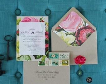 Botanical Wedding Invitation in 'All over rose', Rustic Vintage Rose, Rustic, Garden Wedding, Spring Wedding, Classic Wedding, Flowers