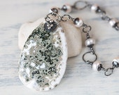 Ocean Jasper Stone Pendant Necklace with White Freshwater Pearls, natural stone necklace, black sterling silver, moss green and white drop