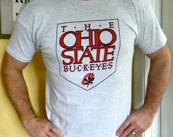 Ohio State University 1980s vintage shirt white size large Buckeye