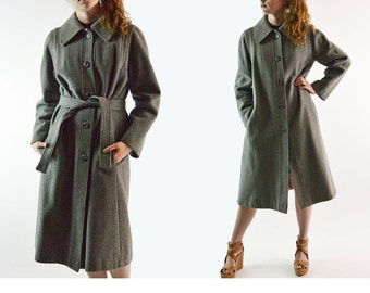 Vintage 70s Wool Trench Coat Heavy Weight Gray Wool Coat / Woolf Brothers Steampunk Belted Trench Hipster Overcoat Womens Wool Coat S / M