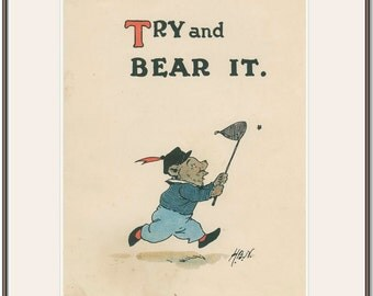Bear Chasing Bee, 1900s Antique Book Page 1, Harry Neilson,  Antique Kids Print, Nursery Decor Art ,Childrens Picture