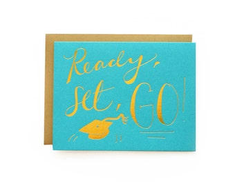Ready, Set, Go! - letterpress card
