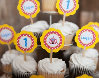 Circus Party Cupcake Toppers - Circus Birthday Party Decorations - Circus Cupcake Decorations - Carnival Party, Carnival Decorations (12)
