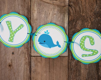 Whale Themed BABY SHOWER Banner   Whale Baby Shower Decorations In Aqua  Blue U0026 Green