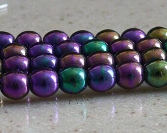 Iris Purple Round Czech Glass Beads 6mm Druk 25