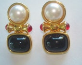 Signed Joan Rivers Clip Leaf Earrings Gold Tone Pearl, Black, Red Stones