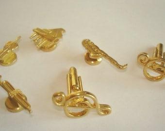 Music Gold Tone Cuff Links.