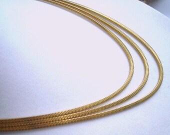 Signed Forstner 1/20 12K  Gold Vintage Jewelry 3 Strand Necklace