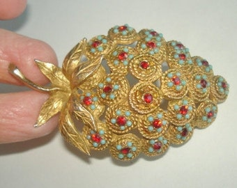 Vintage Jewelry Turquoise Ruby Rhinestone  Fruit  Brooch Gold Tone