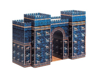 Ishtar Gate, craft kit for building ancient Babylon gate from paper || full color model with glazed lions and dragons
