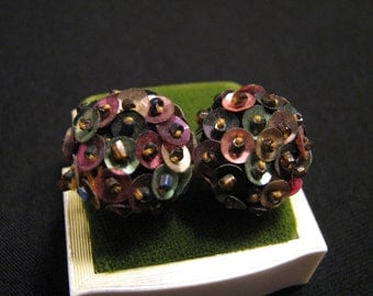 Antique Victorian Round Multicolor Sequin and Crystal Glass Seed Beaded Dome Screwback Earrings