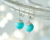Turquoise Earrings, Dangle earrings, Sterling silver earrings, Everyday earrings, bridesmaid jewelry, Blue turquoise, Leverback earrings