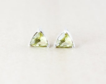 Gold/Green Quartz Studs - Triangular Cut - Silver Fill