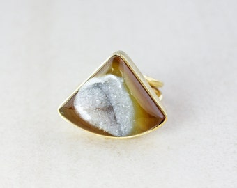 Earthy Brown Druzy Ring - Statement Ring - Adjustable Size