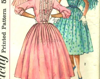 Vintage 1950s Pattern Shirtwaist Dress Tucked Bodice and Back Full Skirt 1957 Simplicity 2126 Bust 38 UNCUT