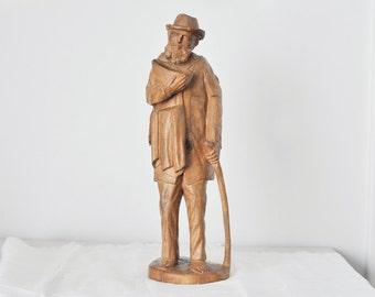 Vintage Hand Carved Statue Traveler Wooden Statue Man with Cane Figure Natural Decor Figurine Antique Art Sculpture Not Lost Explore Journey