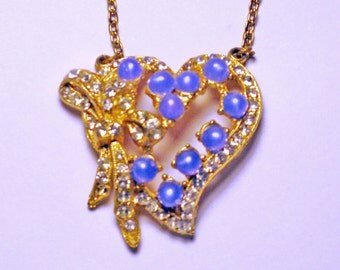 Vintage Gold Tone Blue Moonglow Heart Necklace (N-3-2)