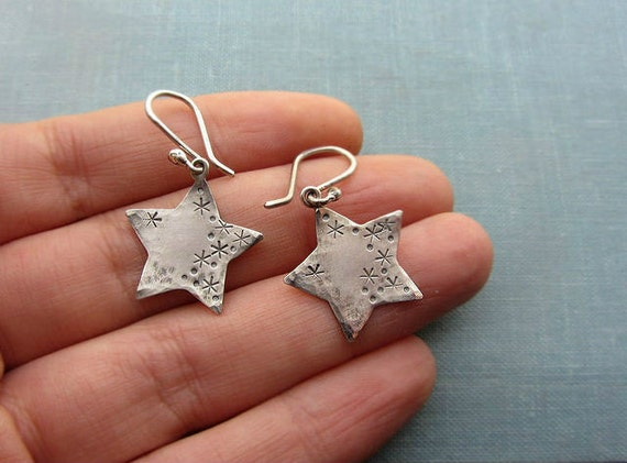 Silver star earrings, small sterling silver dangle earrings, oxidized silver earrings