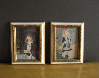 Bellows and Renoir - Two Ornate Frames - Pair of Small Framed Illustrations  - White and Gold Framed Girls